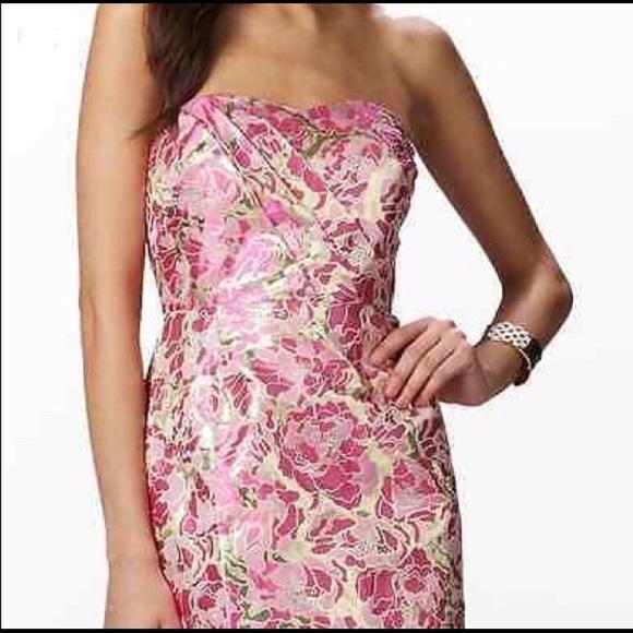 e9f7434eef0 Lilly Pulitzer Raya Dress Metallic Jacquard Size 4